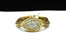 Rare Vintage 18k Yellow Gold and 1.35Ct Diamond Cover Ladies Watch/Bracelet