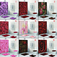 4Pcs Set Bathroom Shower Curtain Bath Mat Non-Slip Rug Carpet Toilet Cover Pad