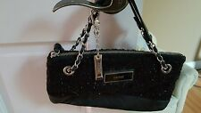 DKNY Clutch W/ Adjustable Chain Handle Black Nappa Leather Metallic Fabric