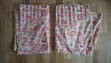 "DESIGNERS GUILD CURTAIN FABRIC ""Daisy"" 48"" W x 32"" L PINK RED (1975) Lined 70s"