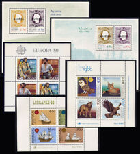 1980 Portugal, Azores, Madeira Complete Year MNH. 5 Souvenir Sheets, Blocks.
