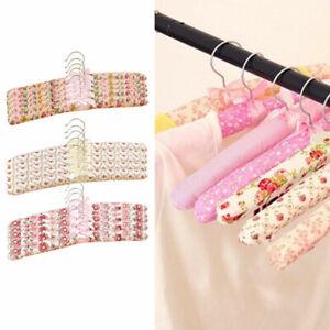 10X Soft Hook Wooden Sponge Padded Floral Coat Clothe Hanger Suit Dress Shi T6R9