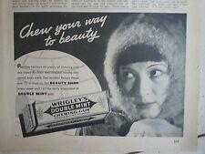 1936 Wrigleys Double Mint Chewing Gum Eskimo Woman Chew to Beauty Original Ad