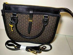 Fossil Women's Ryder Satchel Brown Black Leather Fabric Print Handbag Crossbody