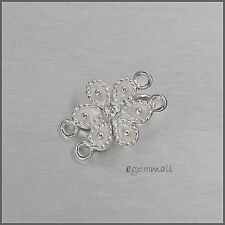 Sterling Silver Hook & Eye Butterfly Clasp with CZ  White #51288