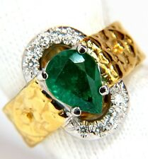$4000 18KT 1.90CT NATURAL EMERALD DIAMOND RING SCALING PATTERN CLIP OVER DESIGN