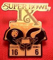 Vintage NFL Super Bowl IX (9) Starline Collectors Pin: Steelers vs Vikings