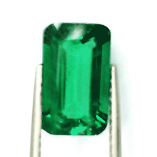 3.65 cts  Excellent  Emerald Cut Chrome Green Biron Emerald Lab Gem