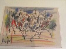 gouache de GEN PAUL représentant une course de chevaux