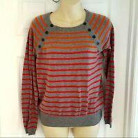 ANTHROPOLOGIE Womens Sweater Size Medium Crew Neck Sparrow Striped Cotton Blend