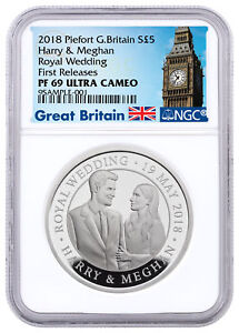 2018 Great Britain £5 Silver Royal Wedding Piedfort NGC PF69 UC First Releases