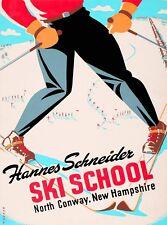 Hannes Schneider Ski School New Hampshire United States Travel Art Poster