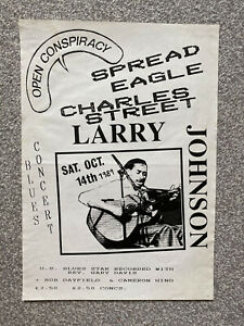 Vintage retro original 1989 blues music Larry Johnson poster - Leicester