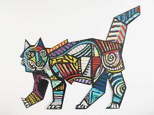 David Gerstein Printed Metal Cat Sculpture Pollock Picasso Abstract Pop Art