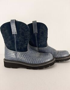 ARIAT 4LR FATBABY Boots 10 B Women's EXOTIC Blue Crocodile Print Leather Western