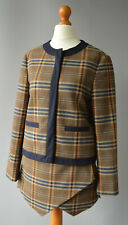 Ladies Zara Brown Beige & Navy Tartan Check Skirt & Jacket Suit Size S