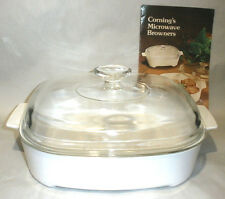 Corning Ware  MWA10  Just White 10 x 10 Inch Covered Microwave Browner Skillet