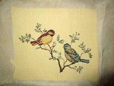 "Vintage Bird needlepoint Petit Point Sparrow Birds Pale yellow ground 12x10"""