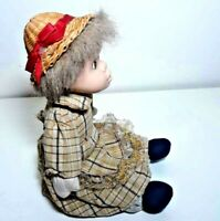 "Halloween Handmade Cloth Sitting Girl Doll Blonde Missy Hair With Straw Hat 9"""