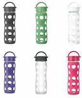 Lifefactory Glass Water Bottle w/Leakproof Cap & Slc. Sleeve, 3 Sizes, 11 Colors