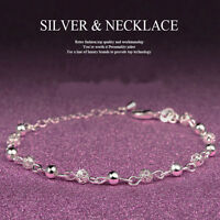 Women 925 Sterling Silver Ball Crystal Chain Bangle Cuff Charm Bracelet Jewelry
