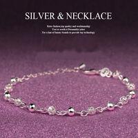 Damen Armband Armband versilbert Charm Perlen Armkette Armreif Modeschmuck Neu