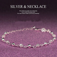 Women 925 Sterling Silver Ball Crystal Rhinestone Chain Bangle Charm Bracelet
