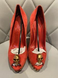 alexander mcqueen heels red suede with gold skull EU 35