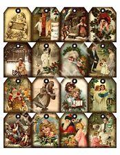 16 Christmas Holiday Vintage Hang Tags Scrapbooking Paper Crafts (15)