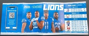 2019 Detroit Lions Multifold Pocket Schedule Home Games Prices Ford Field MAP