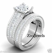 Certified 3.71 Ct White Princess cut Wedding Set Engagement Ring 14K White Gold