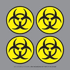 SKU2553 - 4 X Bio Hazard luminosa pegatinas vinilo placa de coche placa - 50mm