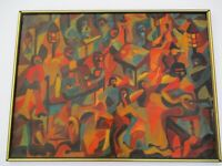 LARGE  OIL PAINTING MODERNISM ABSTRACT EXPRESSIONISM CUBISM BAND CLUB MUSICIANS