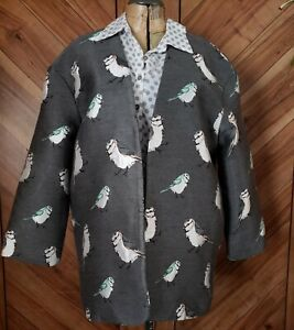 FRNCH Gray Birds Blazer Jacket M/L