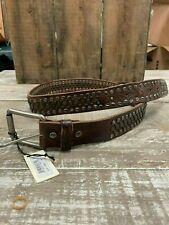 Will Leather Goods Studded Dark Brown Belt NWT 36