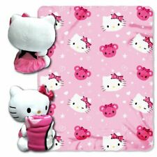 Hello Kitty pillow Stuffed doll and fleece blanket hugger throw Pink White NEW