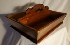 Wooden Carry Box, Dovetail Handmade Beauty, Rich Dark Wood With Leaf Handles.