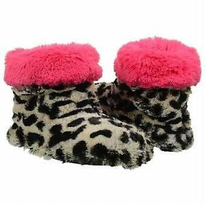 """NEW Women's Dearfoams """"Pile Boot"""" size SM (5/6) Grey Leopard/Pink slipper bootie"""