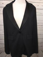 CAbi Womens Medium 701 Black Blazer One Button Tuxedo Jacket Stretch Solid