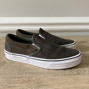 Vans Classic Slip On Shoes Suiting Plaid Grape Leaf/White 7 Men 8.5 Women