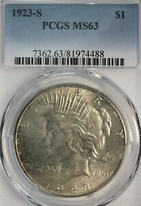 1923-S Peace Dollar. PCGS MS63. Light Gold wash over Soft White Surfaces.
