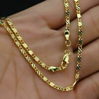 Men Woman 18K Gold Filled 2mm Rope Snake Flat Link Chain Necklace Jewelry Gift