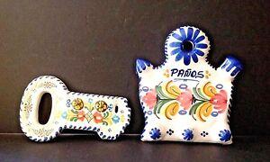 Pair Ceramic Handpainted Talavera Spain Key Holder Wall Mount Kitchen Towel Rack
