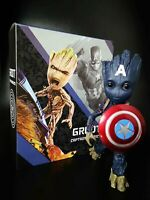 "10"" Guardians of the Galaxy Baby Groot Cosplay Captain America HT Action Figure"