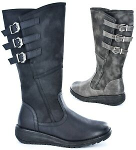 Ladies Triple Buckle Brushed Faux Leather Classic High Leg Boot Size UK 3 - 8