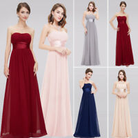 Cheap Women Chiffon Strapless Bridesmaid Prom Gowns Homecoming Dresses Long Maxi