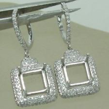 COMBINED SEMI MOUNT EARRINGS PRINCESS 5MM SOLID 14K WHITE GOLD DIAMOND