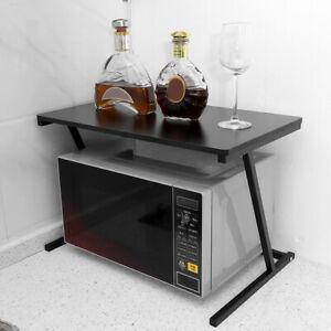 2 Tier Black MDF Microwave oven Rack Stand Storage Holder Kitchen Corner Shelf