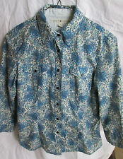 Tommy Hilfiger Womens blouse top Size 4 blue paisley pearlized snap front