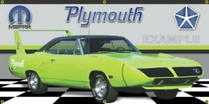 1970 Plymouth Superbird Limelight Green Banner.  Two Sizes Available